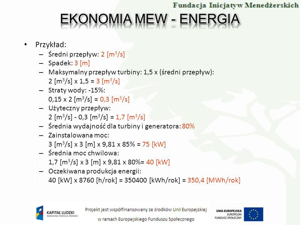 EKONOMIA MEW - ENERGIA Przykład: Średni przepływ: 2 [m3/s]
